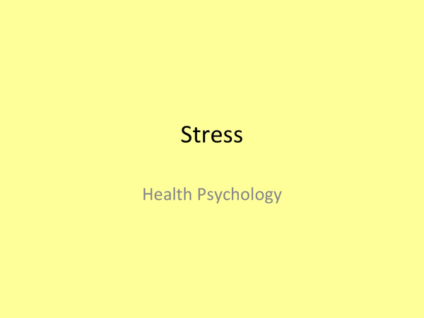 Preview of OCR Psychology Health- Stress