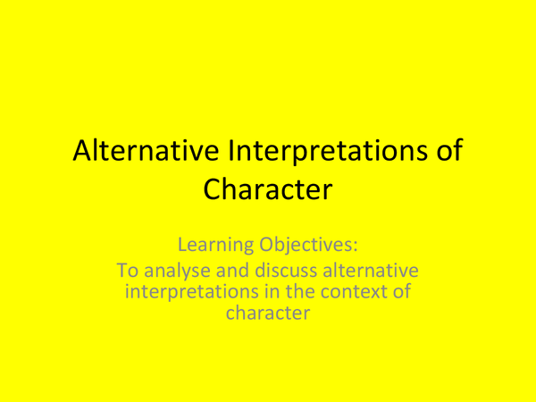 Preview of Of Mice and Men: Alternative Interpretations of Characters PowerPoint