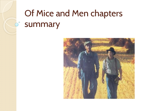 Preview of Of Mice and Men chapters summary and questions