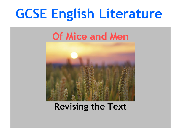 Preview of OF MICE AND MEN REVISION
