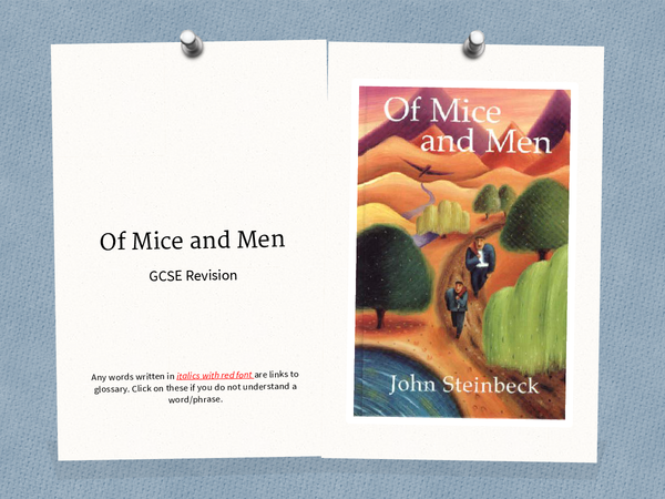 Preview of Of Mice and Men Themes, Key Points, Quotes and Background Knowledge