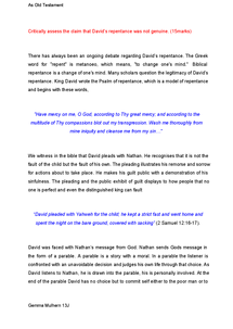 Preview of Old Testament-David's repentance- Essay