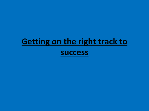 Preview of On the right track to success