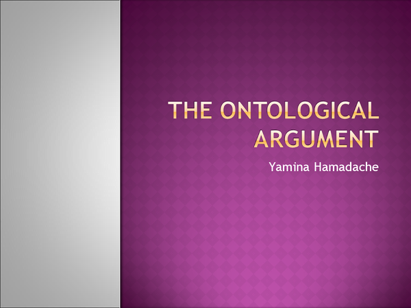 Preview of Ontological Argument for AS Philosophy