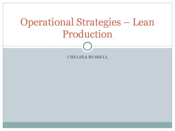 Preview of Operational Strategies - Lean production