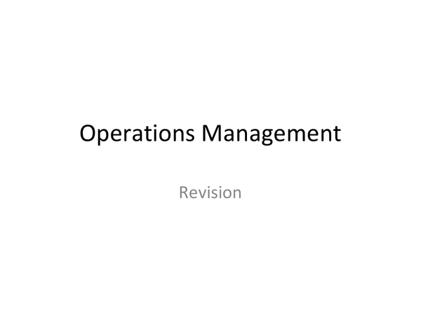 Preview of Operations MAnagement