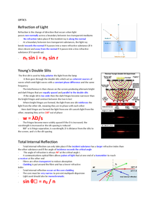 Preview of PHYSICS UNIT 2: OPTICS