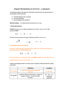Preview of Organic reaction mechanisms at A2 for OCR Chemistry A (F324)