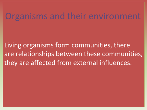 Preview of Organisms in Their Enviroment