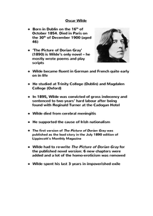 Preview of Oscar Wilde fact sheet