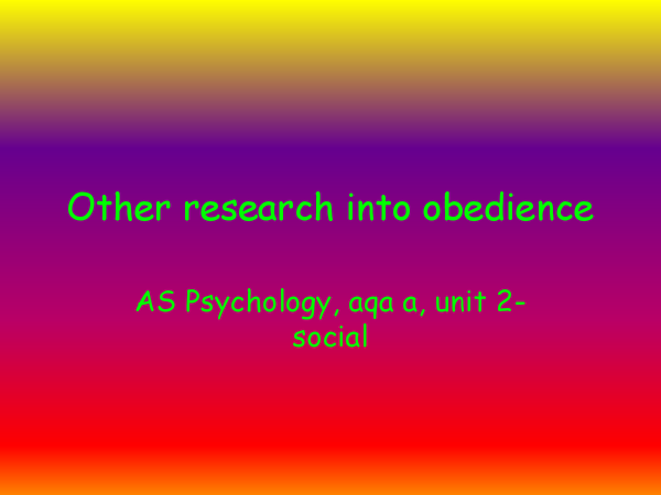 Preview of Other research into obedience