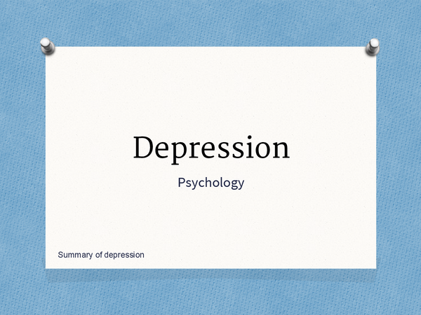 Preview of Overall summary of the depression topic