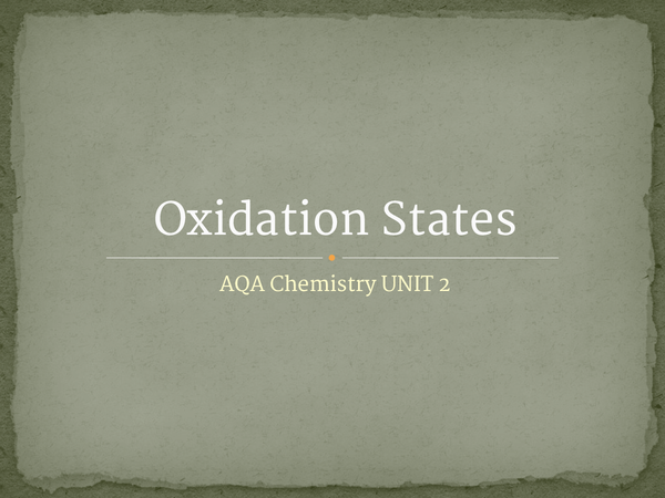 Preview of Oxidation States