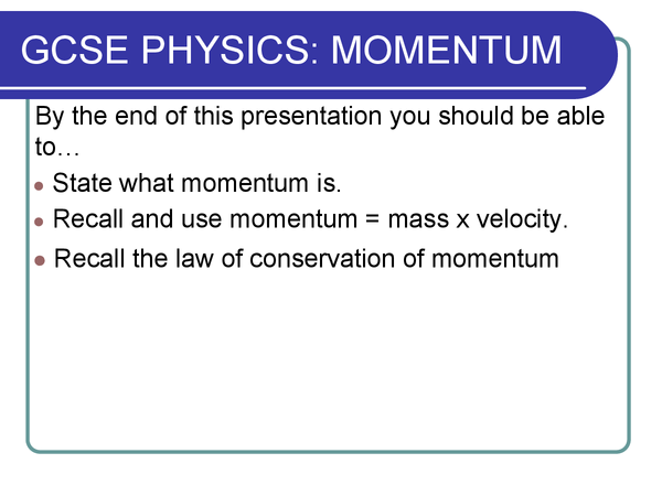 Preview of P2 additional science - calculating momentum