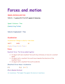 Preview of P2 (forces and motion equations) for AQA