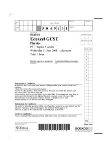 Preview of P3 GCSE Physics June 2008 Edexcel