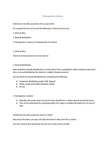 Preview of Parametric Criteria - Methods
