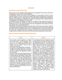 Preview of Parliamentary VS Presidential Systems