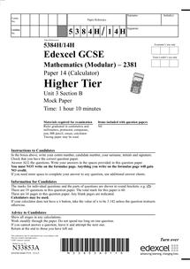 Preview of past paper unit 3 maths edexcel