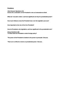 Preview of Past Questions: Presidency & Vice-President