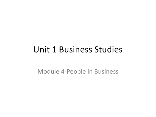 Preview of People in Business module 4- Business studies
