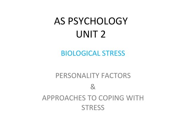 Preview of Personality Factors and Approaches to Coping with Stress