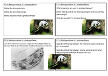Preview of Photosynthesis F214 OCR Biology revision cards