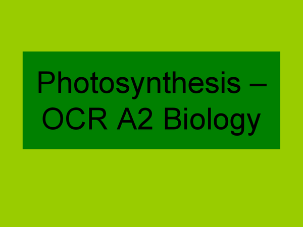 Preview of Photosynthesis - OCR A2 Biology