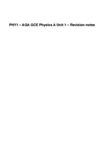 Preview of PHY1 – AQA GCE Physics A Unit 1 – Revision notes