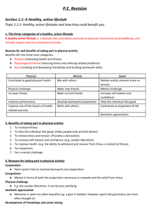 Preview of Physical Education Revision Notes Edexcel
