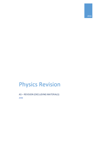 Preview of Physics AS Revision Notes - Excluding materials