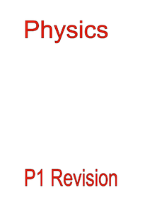 Preview of Physics 1 Revision