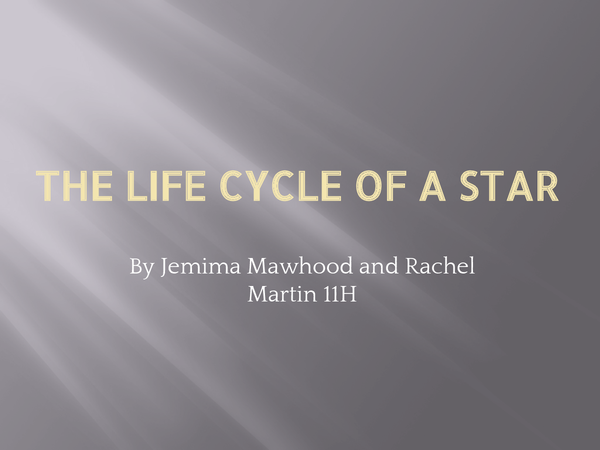 Preview of physics life cycle of a star unit 3