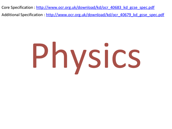 Preview of Physics, OCR Gateway P1