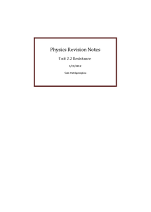 Preview of Physics Revision Notes- 2. 2 Resistance