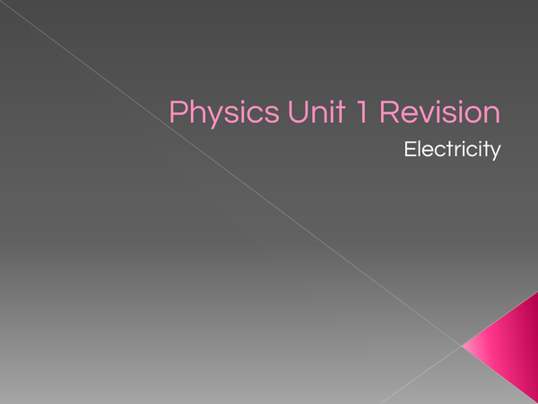 Preview of PHYSICS UNIT 1: ELECTRICITY