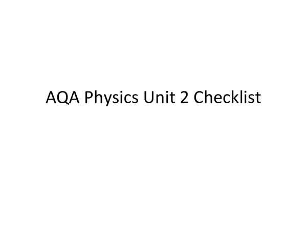 Preview of Physics Unit 2 Checklist