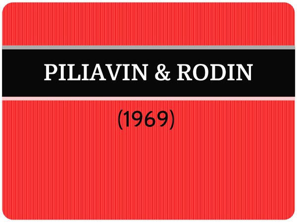 Preview of Piliavin (1969) - AS Core Study