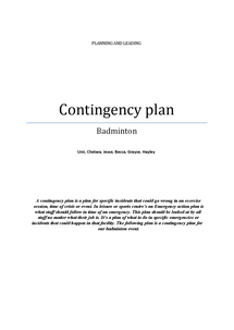 Preview of planning and leading- contingency plan for badminton