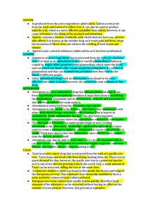 Preview of plant medicines (taxol, aspirin, artemisnin, quinine)-B3 edexcel