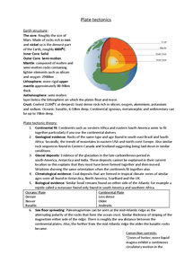 Preview of Plate tectonic revision notes