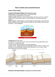 Preview of Plate Tectonics and Associated Hazards  Features of Plate margins: - with pictures, very detailed