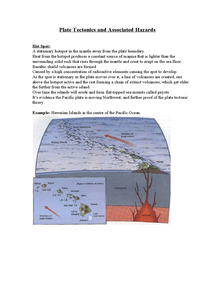 Preview of Plate Tectonics and Associated Hazards   Hot Spot: