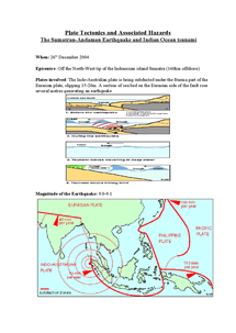 Preview of Plate Tectonics and Associated Hazards  The Sumatran-Andaman Earthquake and Indian Ocean tsunami  - with pictures, very detailed