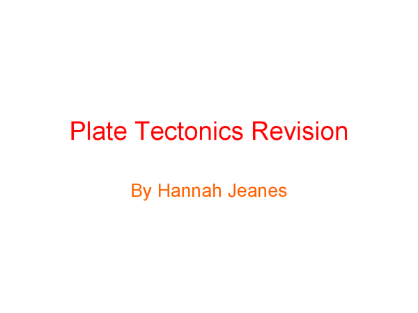 Preview of Plate tectonics revision