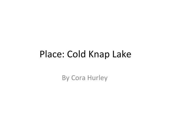 Preview of Poetry Cluster Place: Analysis of Cold Knap Lake