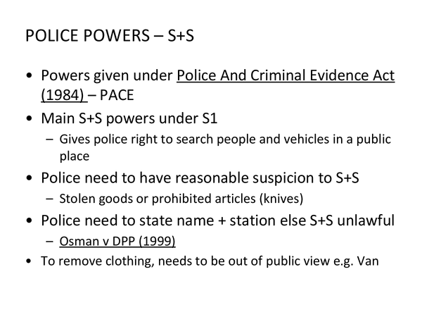 Preview of Police Powers Revision Slides