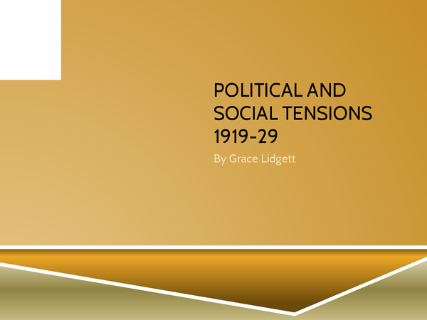 Preview of Political and Social Tensions 1919-29 (Edexcel Unit 3C)