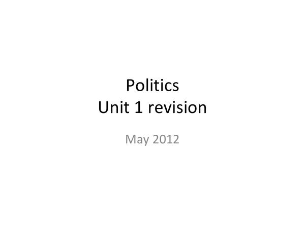 Preview of Politics Unit 1 Revision