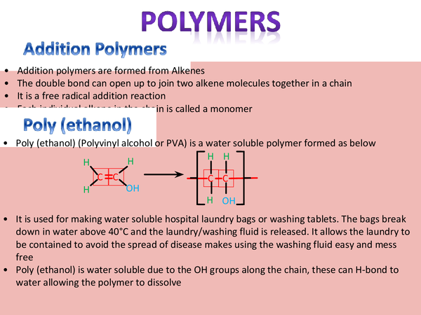 Preview of Polymers, Edexcel Unit 5, A2